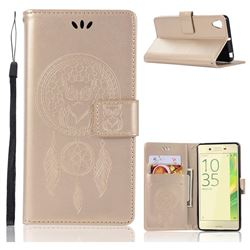 Intricate Embossing Owl Campanula Leather Wallet Case for Sony Xperia X Performance - Champagne