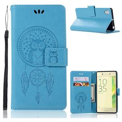 Intricate Embossing Owl Campanula Leather Wallet Case for Sony Xperia X Performance - Blue