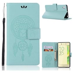 Intricate Embossing Owl Campanula Leather Wallet Case for Sony Xperia X Performance - Green