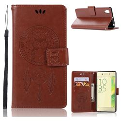Intricate Embossing Owl Campanula Leather Wallet Case for Sony Xperia X Performance - Brown