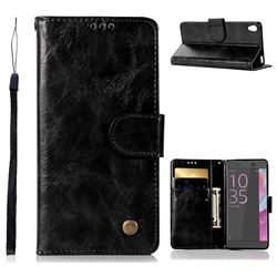 Luxury Retro Leather Wallet Case for Sony Xperia X Performance - Black