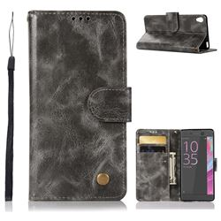 Luxury Retro Leather Wallet Case for Sony Xperia X Performance - Gray