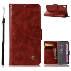 Luxury Retro Leather Wallet Case for Sony Xperia X Performance - Wine Red