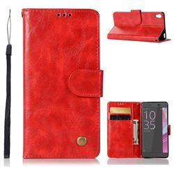 Luxury Retro Leather Wallet Case for Sony Xperia X Performance - Red
