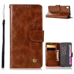 Luxury Retro Leather Wallet Case for Sony Xperia X Performance - Brown