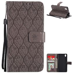 Intricate Embossing Rattan Flower Leather Wallet Case for Sony Xperia X Performance - Grey