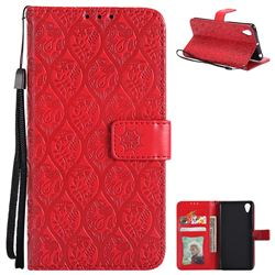 Intricate Embossing Rattan Flower Leather Wallet Case for Sony Xperia X Performance - Red
