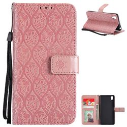 Intricate Embossing Rattan Flower Leather Wallet Case for Sony Xperia X Performance - Pink