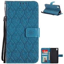 Intricate Embossing Rattan Flower Leather Wallet Case for Sony Xperia X Performance - Blue