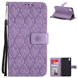 Intricate Embossing Rattan Flower Leather Wallet Case for Sony Xperia X Performance - Purple