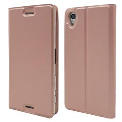 Ultra Slim Card Magnetic Automatic Suction Leather Wallet Case for Sony Xperia X Performance - Rose Gold