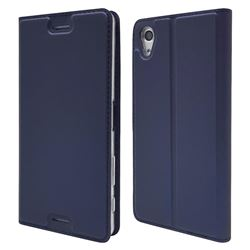 Ultra Slim Card Magnetic Automatic Suction Leather Wallet Case for Sony Xperia X Performance - Royal Blue