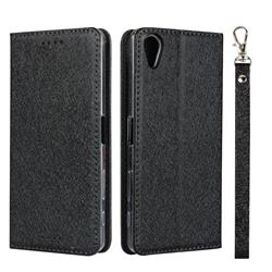 Ultra Slim Magnetic Automatic Suction Silk Lanyard Leather Flip Cover for Sony Xperia X Performance - Black