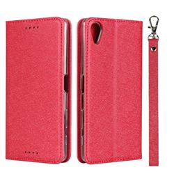 Ultra Slim Magnetic Automatic Suction Silk Lanyard Leather Flip Cover for Sony Xperia X Performance - Red