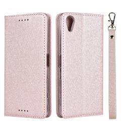 Ultra Slim Magnetic Automatic Suction Silk Lanyard Leather Flip Cover for Sony Xperia X Performance - Rose Gold