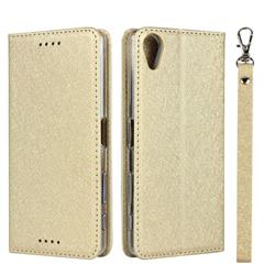 Ultra Slim Magnetic Automatic Suction Silk Lanyard Leather Flip Cover for Sony Xperia X Performance - Golden