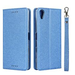 Ultra Slim Magnetic Automatic Suction Silk Lanyard Leather Flip Cover for Sony Xperia X Performance - Sky Blue
