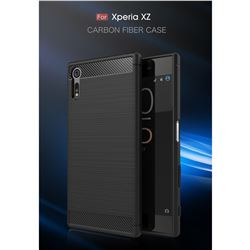 Luxury Carbon Fiber Brushed Wire Drawing Silicone TPU Back Cover for Sony Xperia XZ (Black)