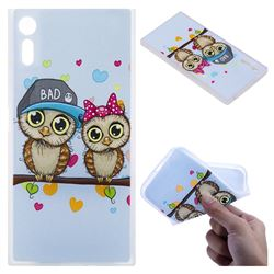 Couple Owls 3D Relief Matte Soft TPU Back Cover for Sony Xperia XZ XZs
