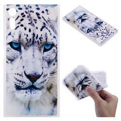 White Leopard 3D Relief Matte Soft TPU Back Cover for Sony Xperia XZ XZs