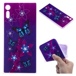 Butterfly Flowers 3D Relief Matte Soft TPU Back Cover for Sony Xperia XZ XZs