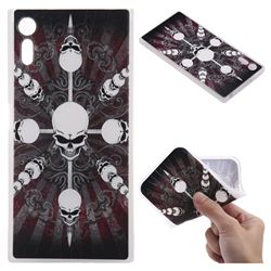 Compass Skulls 3D Relief Matte Soft TPU Back Cover for Sony Xperia XZ XZs