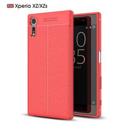 Luxury Auto Focus Litchi Texture Silicone TPU Back Cover for Sony Xperia XZ XZs - Red