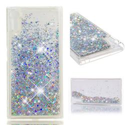 Dynamic Liquid Glitter Quicksand Sequins TPU Phone Case for Sony Xperia XZ XZs - Silver