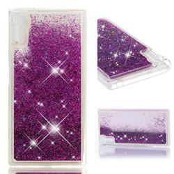 Dynamic Liquid Glitter Quicksand Sequins TPU Phone Case for Sony Xperia XZ XZs - Purple