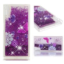 Purple Flower Butterfly Dynamic Liquid Glitter Quicksand Soft TPU Case for Sony Xperia XZ XZs