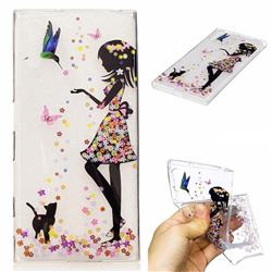 Cat Girl Flower Super Clear Soft TPU Back Cover for Sony Xperia XZ XZs