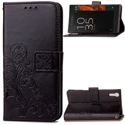 Embossing Imprint Four-Leaf Clover Leather Wallet Case for Sony Xperia XZ / XZ Dual - Black