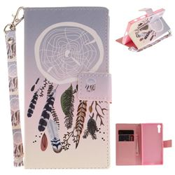 Wind Chimes Hand Strap Leather Wallet Case for Sony Xperia XZ