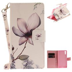 Magnolia Flower Hand Strap Leather Wallet Case for Sony Xperia XZ