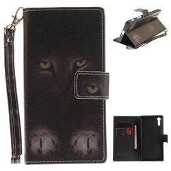 Mysterious Cat Hand Strap Leather Wallet Case for Sony Xperia XZ