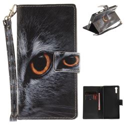 Cat Eye Hand Strap Leather Wallet Case for Sony Xperia XZ