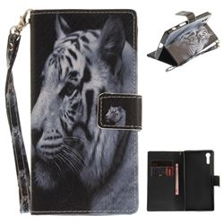 White Tiger Hand Strap Leather Wallet Case for Sony Xperia XZ