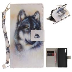 Snow Wolf Hand Strap Leather Wallet Case for Sony Xperia XZ