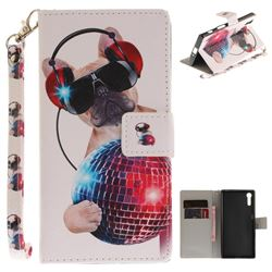 Fashion Dog Hand Strap Leather Wallet Case for Sony Xperia XZ