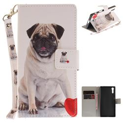 Pug Dog Hand Strap Leather Wallet Case for Sony Xperia XZ