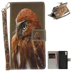 Young Eagle Hand Strap Leather Wallet Case for Sony Xperia XZ