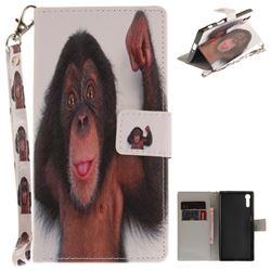Cute Monkey Hand Strap Leather Wallet Case for Sony Xperia XZ
