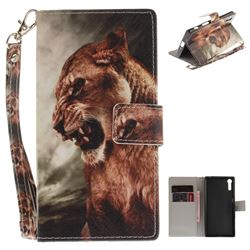 Majestic Lion Hand Strap Leather Wallet Case for Sony Xperia XZ