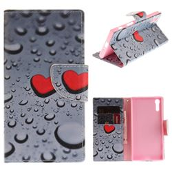 Heart Raindrop PU Leather Wallet Case for Sony Xperia XZ