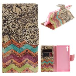Wave Flower PU Leather Wallet Case for Sony Xperia XZ