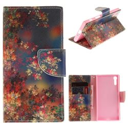 Colored Flowers PU Leather Wallet Case for Sony Xperia XZ
