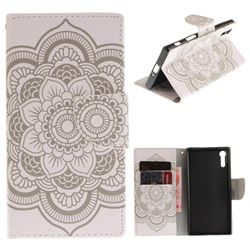 White Flowers PU Leather Wallet Case for Sony Xperia XZ