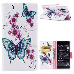 Peach Butterflies Leather Wallet Case for Sony Xperia XZ