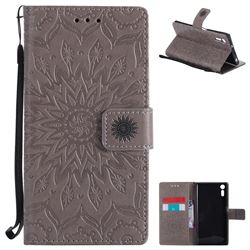 Embossing Sunflower Leather Wallet Case for Sony Xperia XZ - Gray