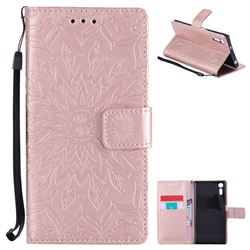 Embossing Sunflower Leather Wallet Case for Sony Xperia XZ - Rose Gold